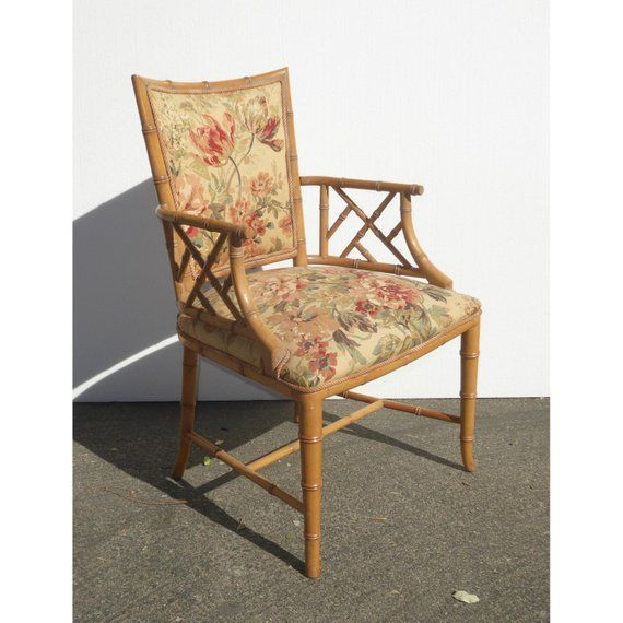 Vintage Chinese Chippendale Bamboo Rattan Accent Chair Etsy