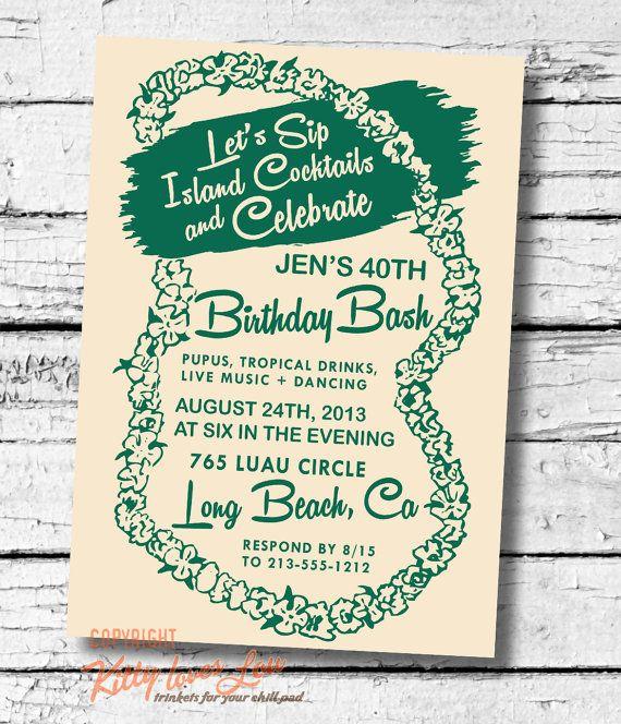PRINTABLE Birthday Party Lei Invitation Bridal Shower bachelorette Hawaiian Retro Luau invite turquoise Beachy Cottage diy on Etsy, $19.00