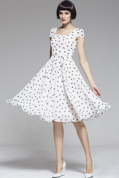 Square Collar Polka Dot Chiffon Dress :)
