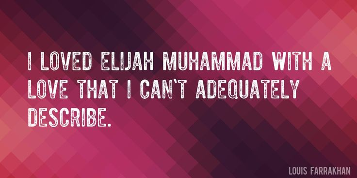 Quote by Louis Farrakhan => I loved Elijah Muhammad with a love that I can't adequately describe.