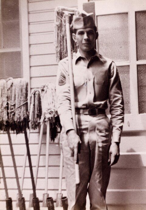 "From 1953 to 1955, Leonard Nimoy, the actor who played Spock on the original Star Trek, served in the US Army Reserves. Today, he tweeted this photo of himself with the caption ""Mopping up."""