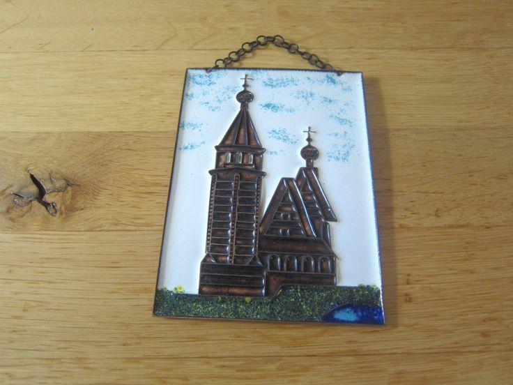 Vintage 70s Emaille / Stegemaille auf Kupfer Wandbild aus der USSR  Russisch Orthodoxe Kirche mit See von schoenARTigsein auf Etsy