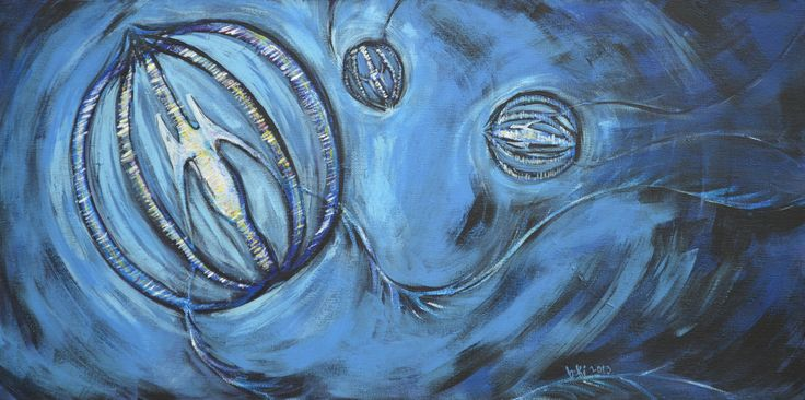 "'Comb Jellies' 12""x 24"" acrylic on canvas"