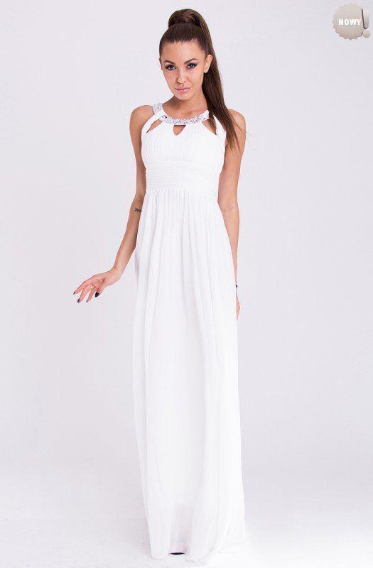 Biała, elegancka długa suknia efektownie ozdobiona kamieniami.