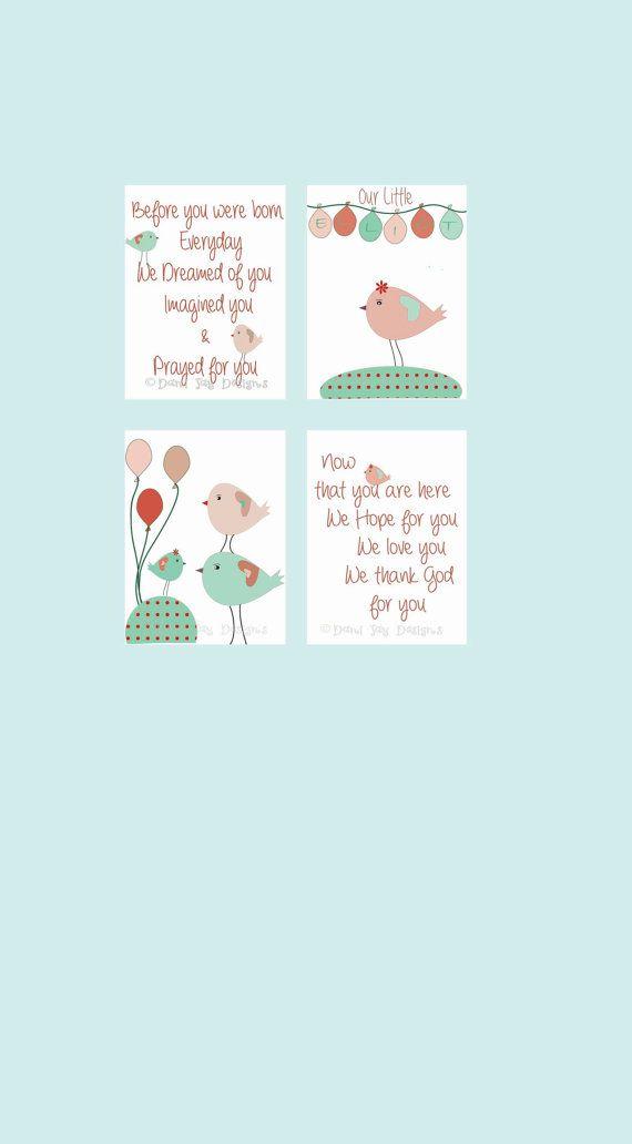 Baby Girl Nursery Wall Art baby shower gift Baby room by DaniJArts