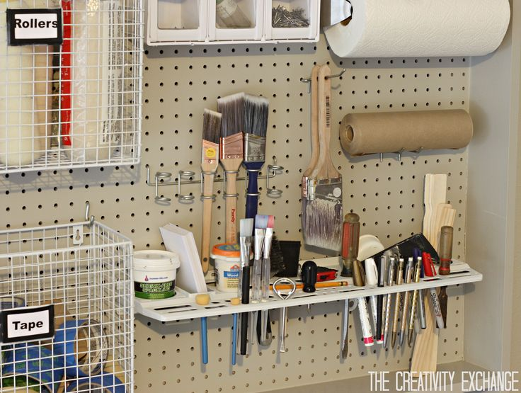 Multi-Purpose Pegboard Storage Piece from Home Depot {The Creativity Exchange}