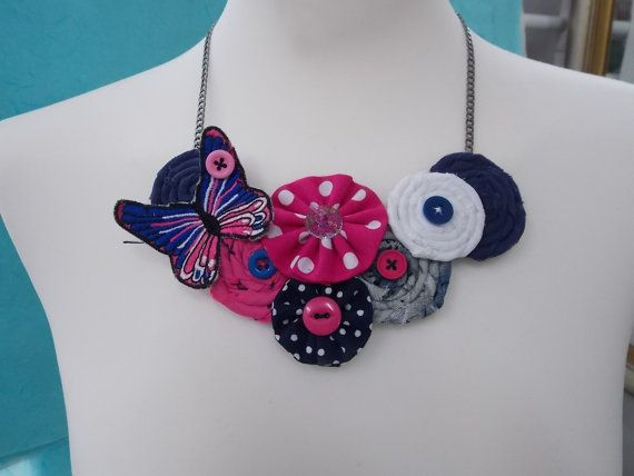 Handmade Necklace Love the Pink made by cotton fabric by FromIrene, €18.00