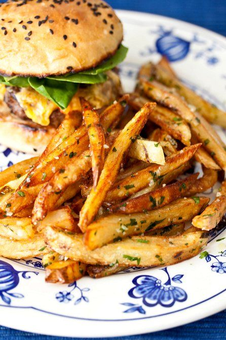 garlic-parsley fries - I actually leave out the butter completely and just sprinkle parsley, salt and roasted garlic or garlic powder over the fries. Oh, and cut the recipe way down. I can't eat that many fries in one sitting believe it or not. ;)