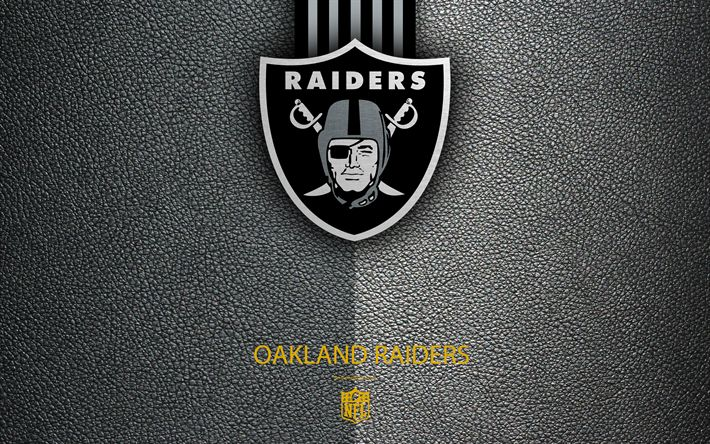Download wallpapers Oakland Raiders, 4K, American football, logo, leather texture, Oakland, California, USA, emblem, NFL, National Football League, Western Division