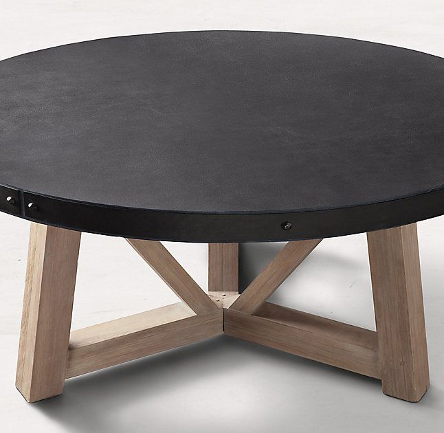 French Beam Concrete U0026 Teak Round Dining Table