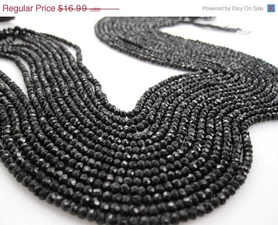 SALE Black Spinel Beads Black Spinel Rondelles by loveofjewelry, $14.44