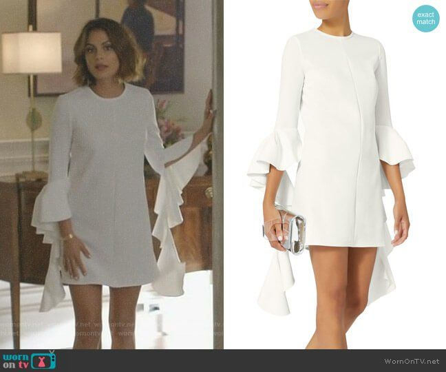 Cristal s white ruffled sleeve dress on Dynasty. Outfit Details  https    wornontv 181bd7fa6