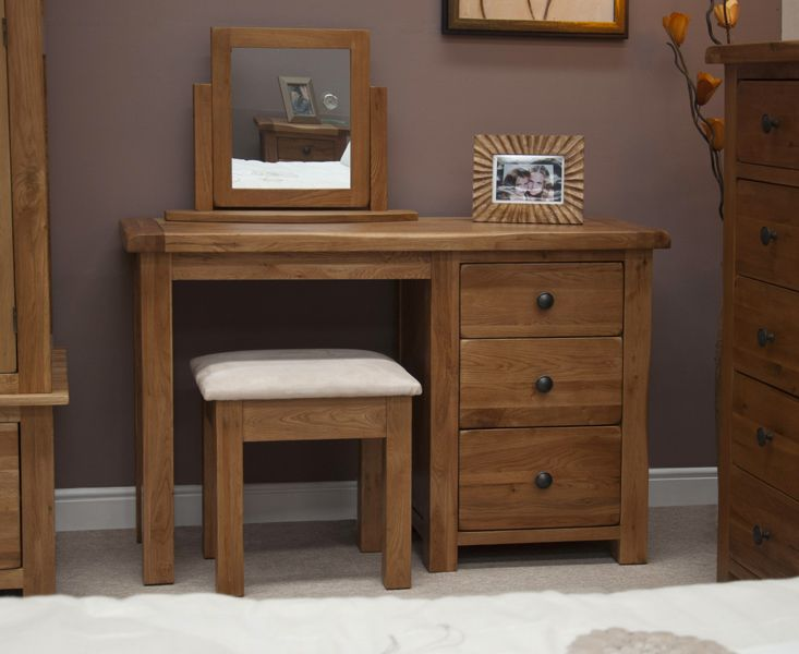 Buy the Bramley Oak Dressing Table with Stool at Oak Furniture Superstore £399