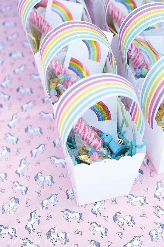 Mitgebselverpackung - Einhornparty -Regenbogenparty
