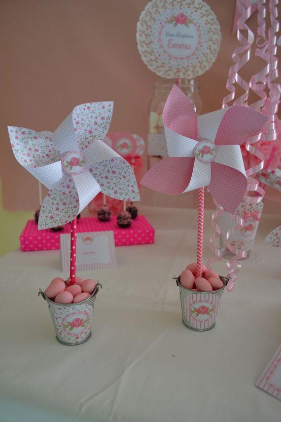 Lot de 2 Décoration pour table ou candy bar - Moulin à vent et contenant à dragés  - Thème Ange Rose