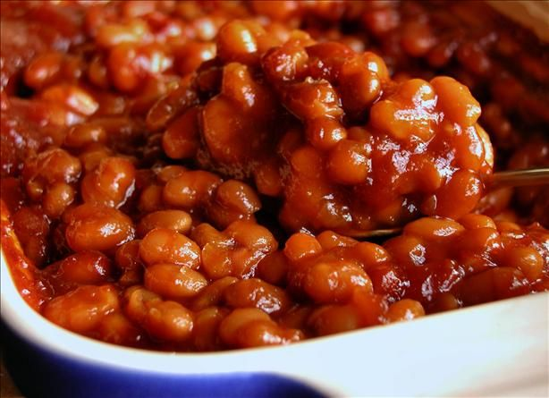 "Quick & Easy Baked Beans My edits - I used fairly plain canned beans and mostly drained them. Added a bit more brown sugar than the recipe called for (since I wasn't using the brand ""Bush""). Spicy brown mustard. Didn't have Worcestershire or liquid smoke. Add some Guinness or other stout. Voila! Oh, and every ingredient to taste. Microwave time was *way* more than ten minutes."