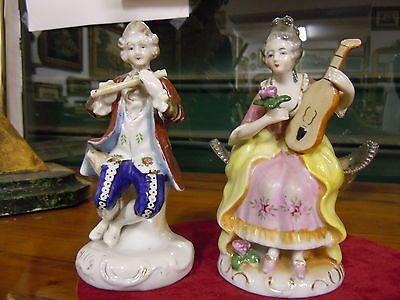 Coppia Musicisisti-Statuine Porcellana-Dama-Dipinte A Mano-Alta Sassonia-Origina