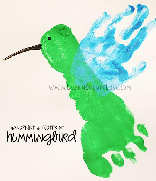 Handprint and Footprint Hummingbird Craft