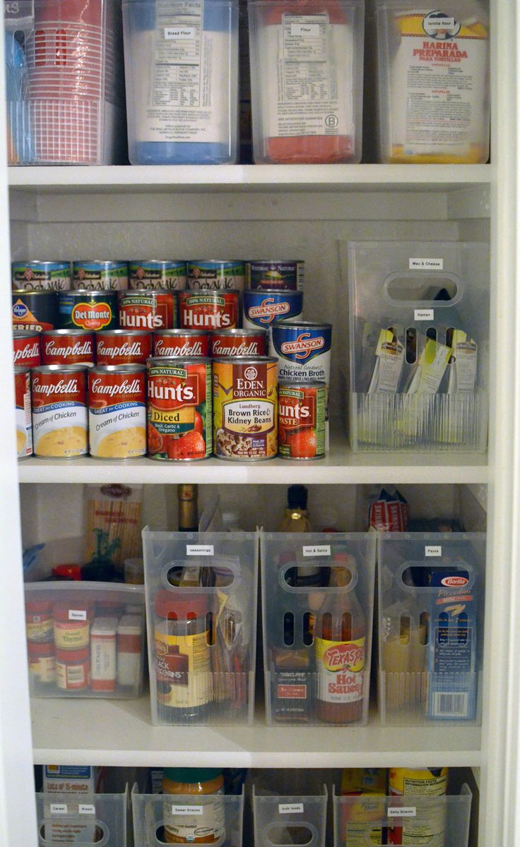 Please clear magazine holders with pull handles are an interesting way to organize pantry items
