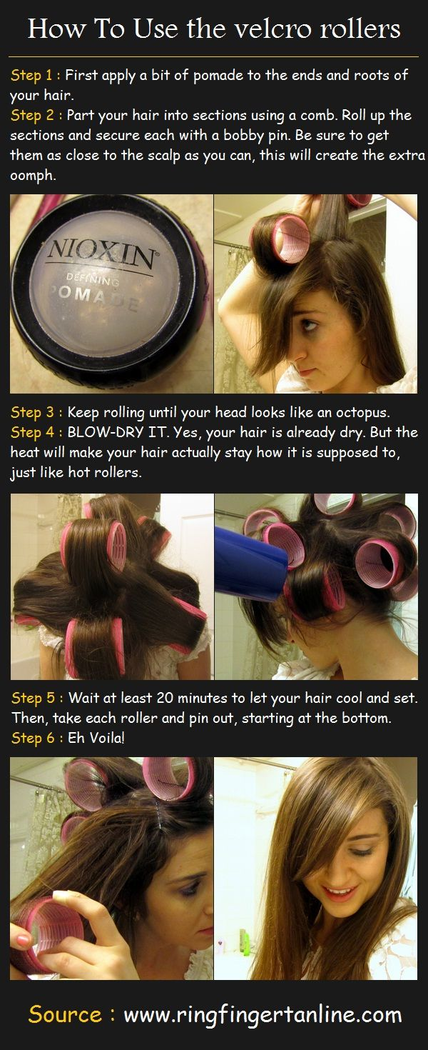 How To Use the velcro rollers | Pinterest Tutorials-I have to try this...my hair has broken from all the heat damage.