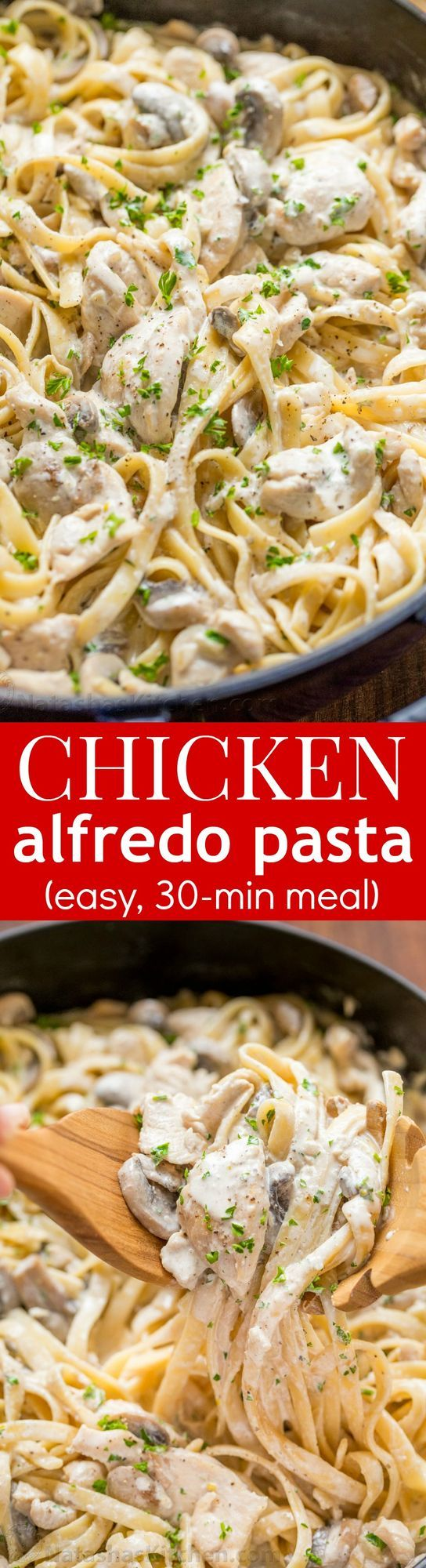 "Mom learned how to make this ""Pollo Chicken Fettuccine Alfredo"" in culinary school. She made this for us when we were kids and we were crazy about it. I've been making this Chicken Fettuccine Alfredo"