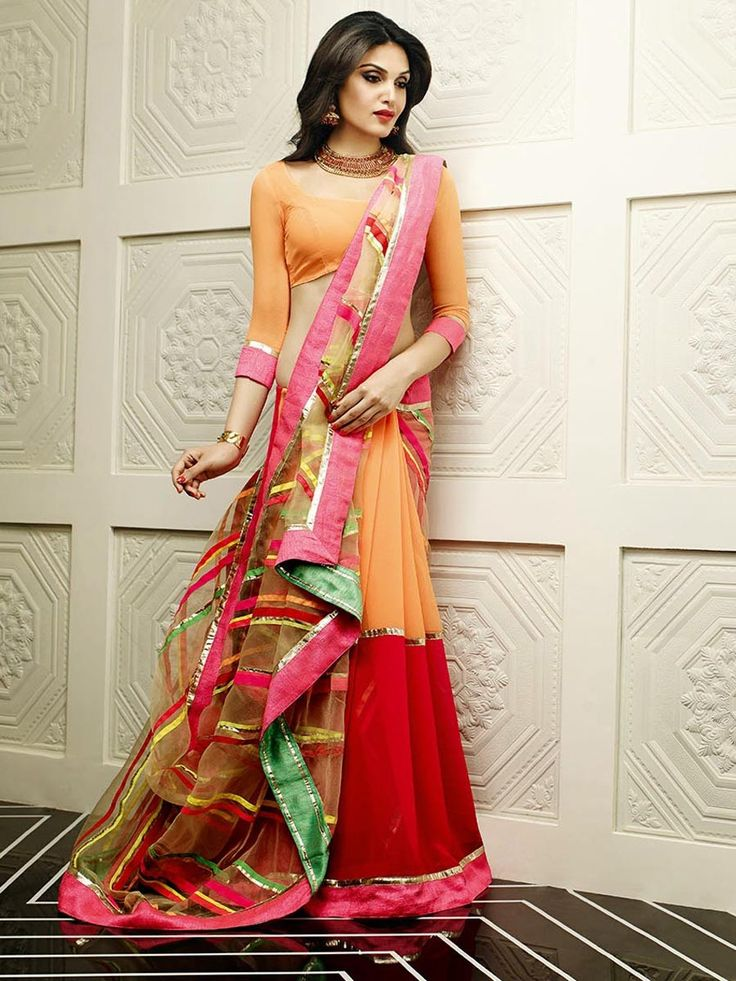 Phenomenal light orange and red color saree. Item Code: SXP34311