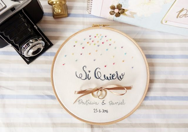 Bastidor porta alianzas para bodas. Embroidery Hoop for the wedding