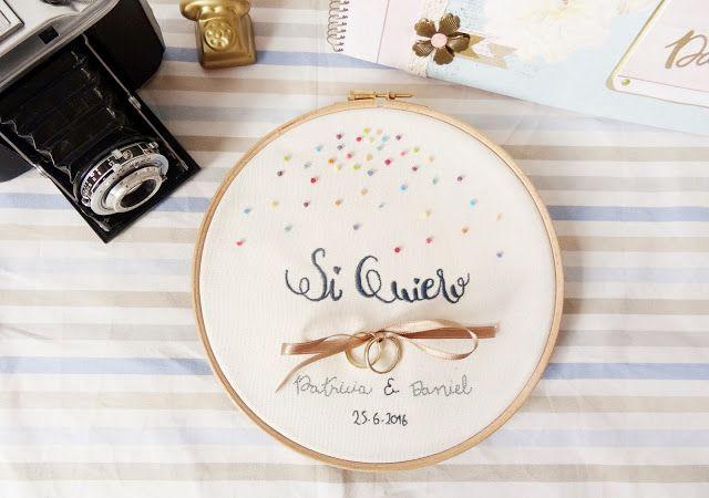 Bastidor porta alianzas para bodas. Embroidery Hoop for the wedding