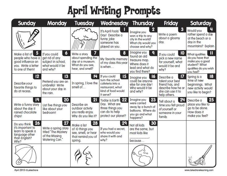 FREE Printable April Writing Prompts Calendar ~ Perfect for journal writing, centers, or use with early finishers.  Thanks Lakeshore Learning!