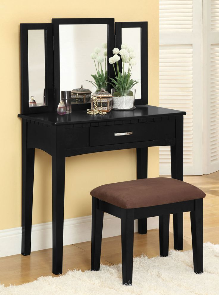 Furniture Of America Jade Solid Wood Vanity Table And Stool Set    Overstock™ Shopping   The Best Prices On Furniture Of America Bedroom  Mirrors