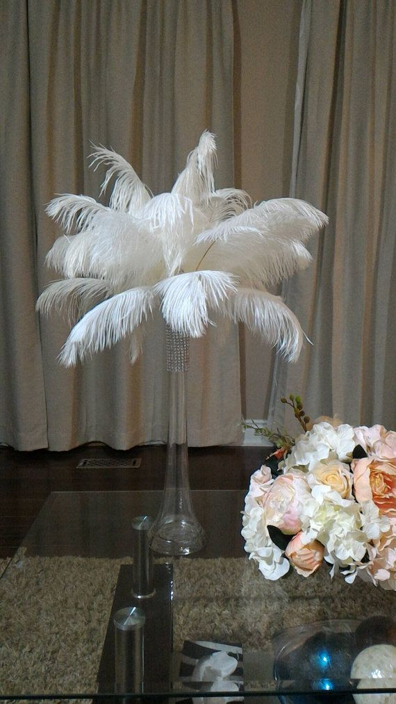 16 Tall Ostrich Feather Centerpiece Kits with Round