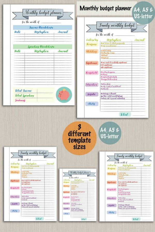 Monthly Bullet Journal Budget Planner Printable Template Digital Pdf Bujo Pages Plan