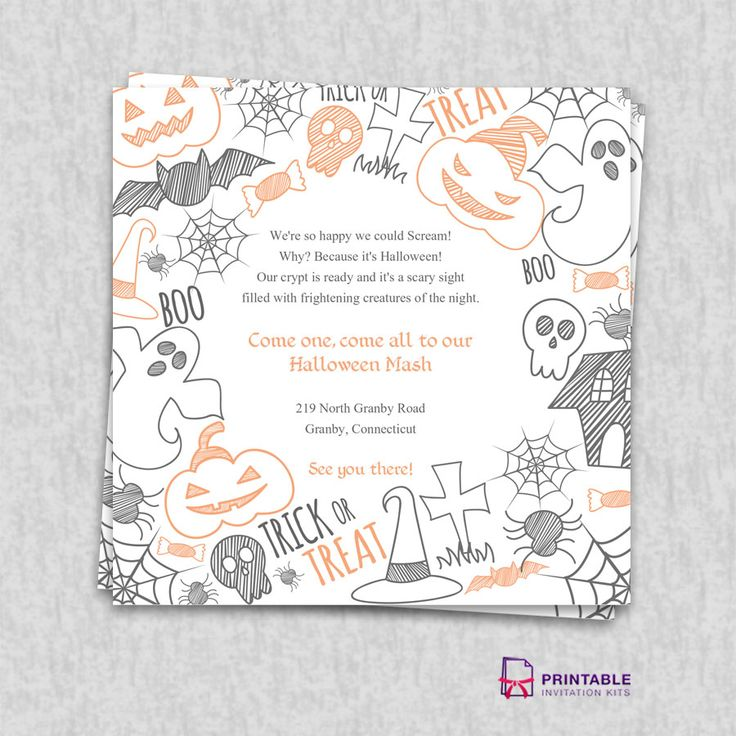 Free PDF Download. Halloween Party Invitation Template