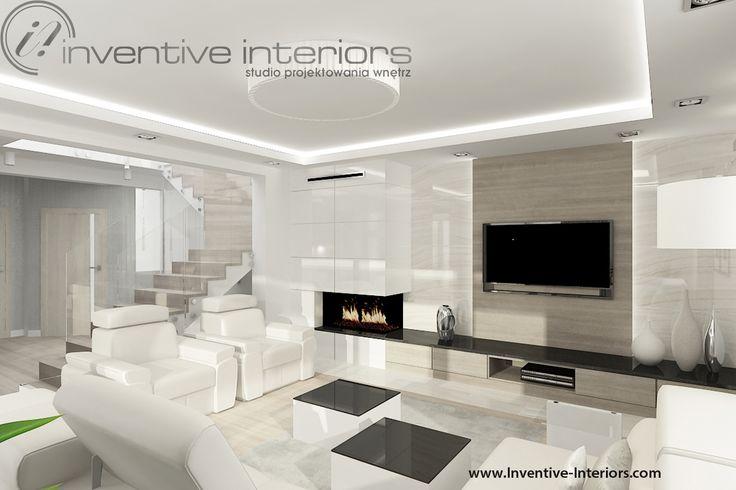 Projekt salonu Inventive Interiors - jasny salon w odcieniach beżu