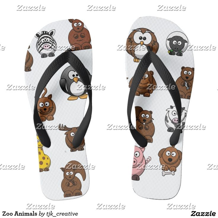 Zoo Animals Flip Flops