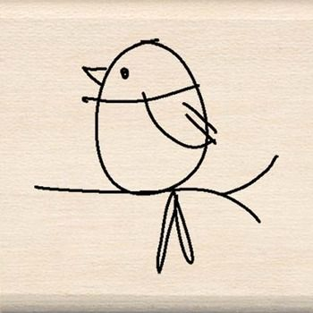 cute simple thumb print cartoon bird illustration for print