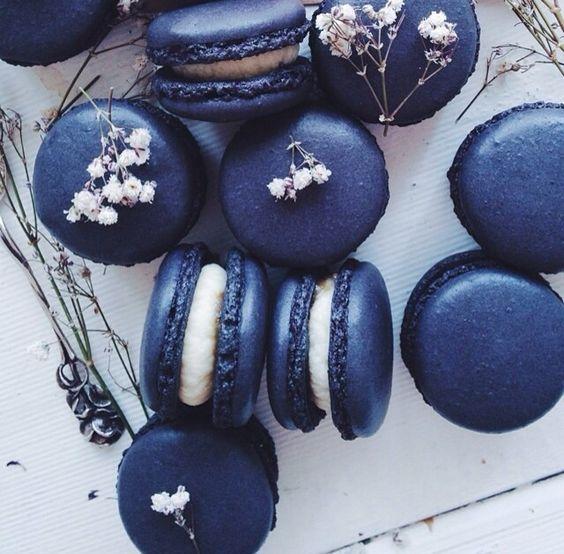 Delicious blue macarons.