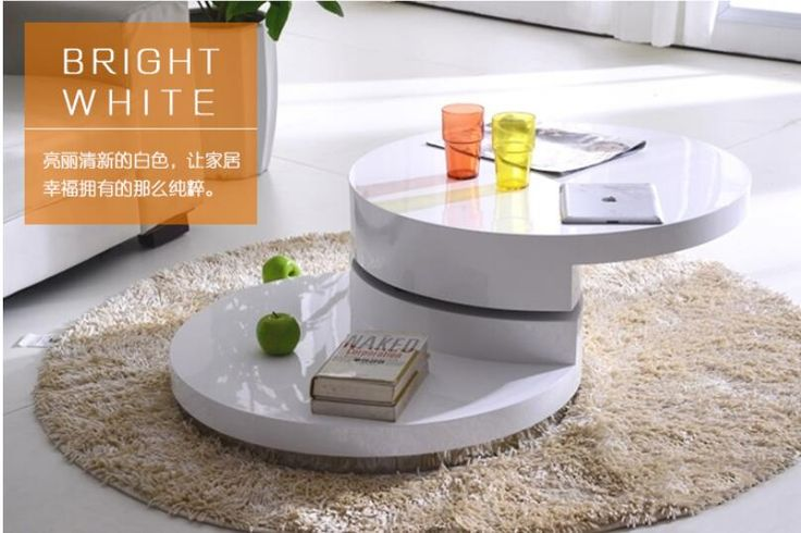 Simple small family. Round tea table. Table of black and white of the lacquer that bake sale