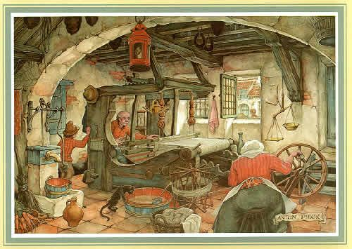 """""""The Weaver"""" by Anton Pieck."""