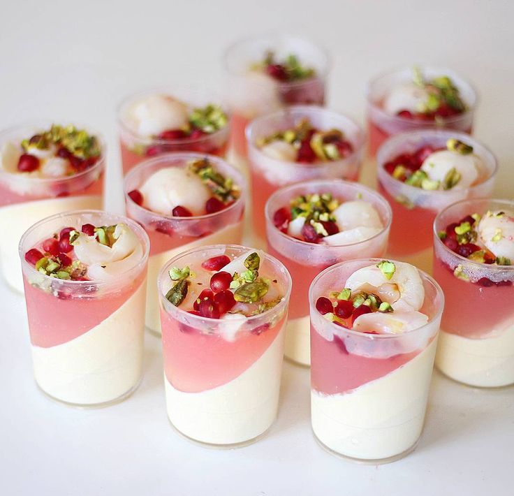 lychee, rose, pomegranate and pistachio dessert cup