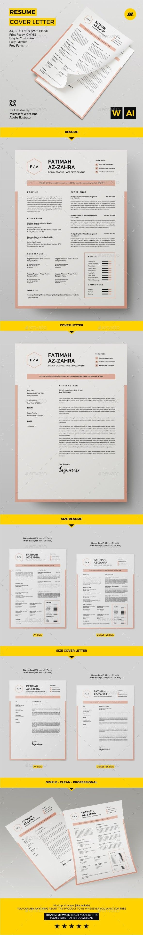 Resume Template AI Illustrator, MS Word