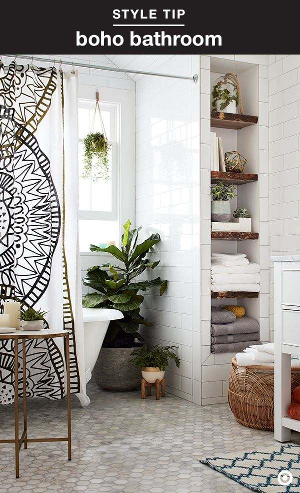 Make your bathroom a little more blissful with a boho-meets-at-home spa vibe. Just add a patterned shower curtain, cushy towels, candles, figurals and fresh plants to tie it all together—and also make it welcoming for guests.