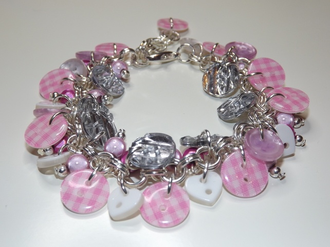 'Pretty In Pink' Button Bracelet £10.00