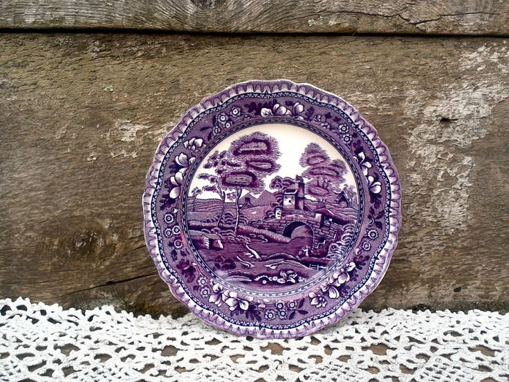 "Antique Purple Transferware SIDE PLATE, W. R. Midwinter Burslem England, ""Old Castle"", Ironstone, English Transferware, Serving by CottonCreekCottage on Etsy"