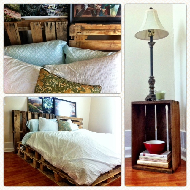 Wood pallet bed! - like the two layers, use the spaces inbetween slats for storage, books, shoes, etc.