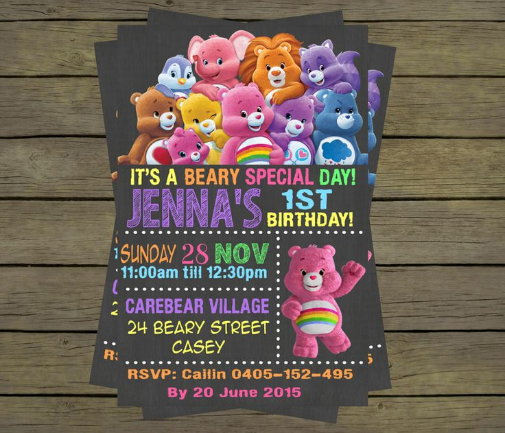 11 best DIY Care Bears Birthday Party Decorations by Cake – Care Bear Birthday Invitations