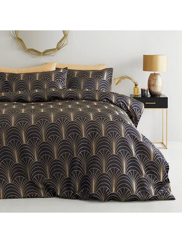 Ideal Home Noir Nights Deco Curve Jacquard Duvet Cover Set Navy