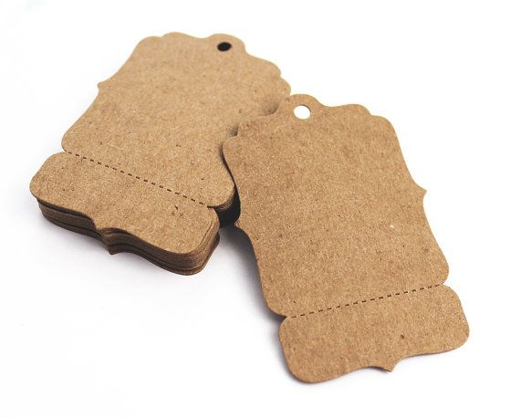 "100 Hang Tags, Medium 2"" x 3"" Perforated Blank Price Tags - Bracket - Boutique Swing Tag, Coat Check, Gift Tag"