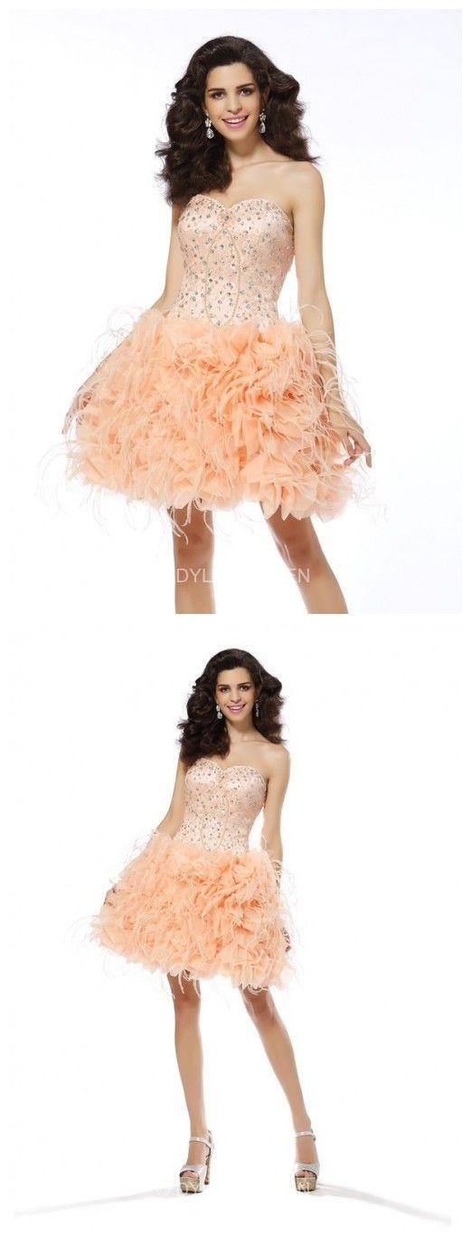 A Princess Sweetheart Beading Sleeveless Organza  Mini Prom Dresses.