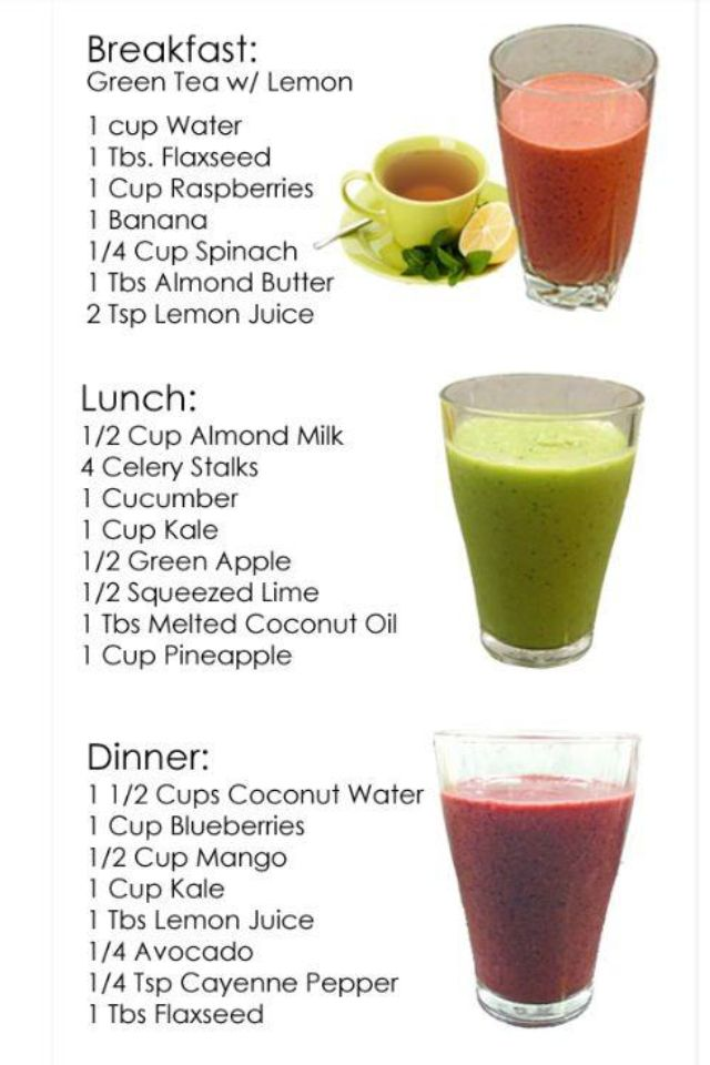 Breakfast, lunch, and dinner detox smoothies